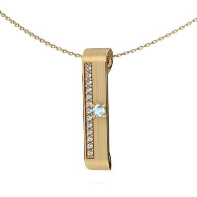 Halsketting Vicki 375 goud aquamarijn 3 mm