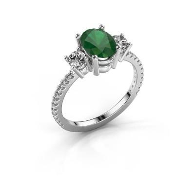 Foto van Verlovingsring Emelda 585 witgoud smaragd 8x6 mm