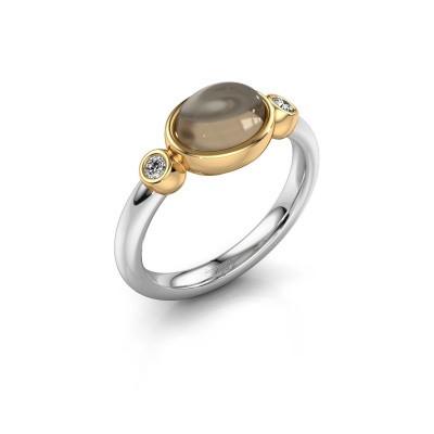 Ring Liane 585 Weißgold Rauchquarz 8x6 mm