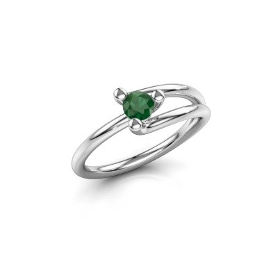 Foto van Verlovingsring Roosmarijn 950 platina smaragd 4 mm