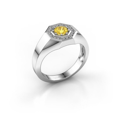 Picture of Men's ring Jaap 950 platinum yellow sapphire 5 mm