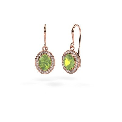 Picture of Drop earrings Latesha 375 rose gold peridot 8x6 mm