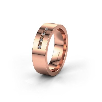 Wedding ring WH0108L16BP 375 rose gold brown diamond ±6x2 mm