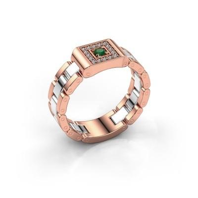 Foto van Rolex stijl ring Giel 585 rosé goud smaragd 2.7 mm