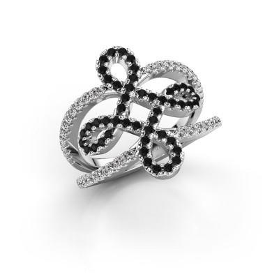 Foto van Ring Chantay 585 witgoud zwarte diamant 0.792 crt