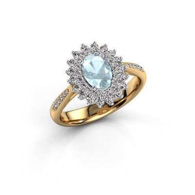 Engagement ring Alina 2 585 gold aquamarine 7x5 mm