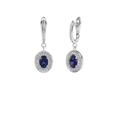 Picture of Drop earrings Layne 2 950 platinum sapphire 7x5 mm
