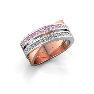 Ring Margje 585 rose gold pink sapphire 1.3 mm
