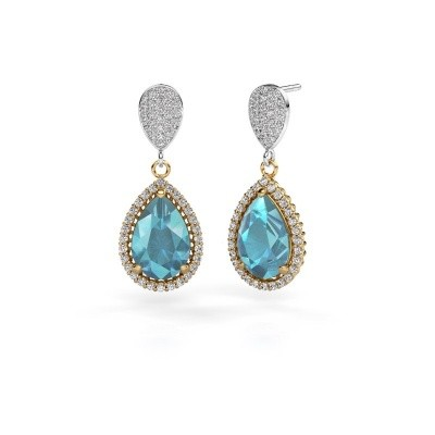 Picture of Drop earrings Cheree 2 585 gold blue topaz 12x8 mm