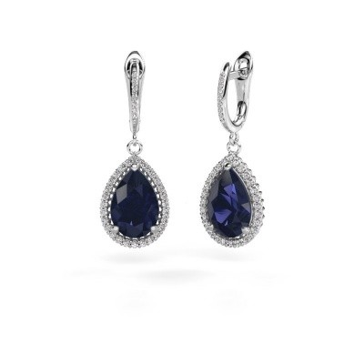 Drop earrings Hana 2 585 white gold sapphire 12x8 mm