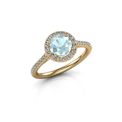 Picture of Engagement ring Seline rnd 2 585 gold aquamarine 6.5 mm