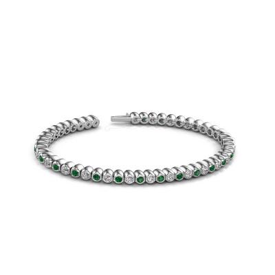 Foto van Tennisarmband Bianca 2.4 mm 585 witgoud smaragd 2.4 mm