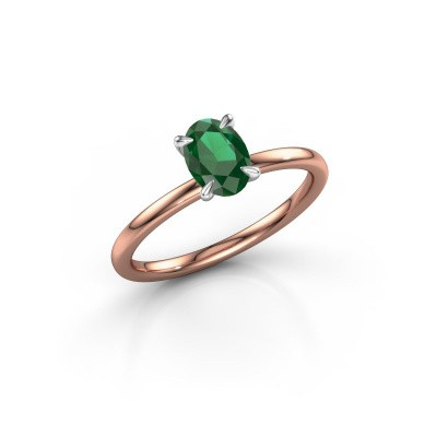 Picture of Engagement ring Crystal OVL 1 585 rose gold emerald 7x5 mm