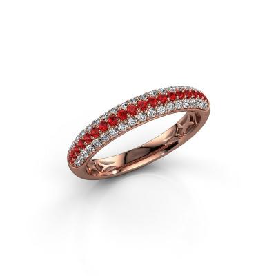 Foto van Ring Emely 2 585 rosé goud robijn 1.3 mm