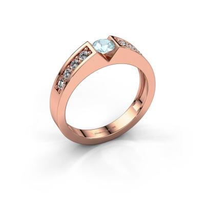 Engagement ring Lizzy 2 585 rose gold aquamarine 4.2 mm