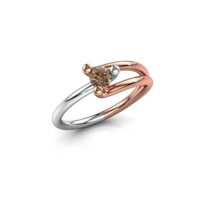 Foto van Verlovingsring Roosmarijn 585 rosé goud bruine diamant 0.25 crt
