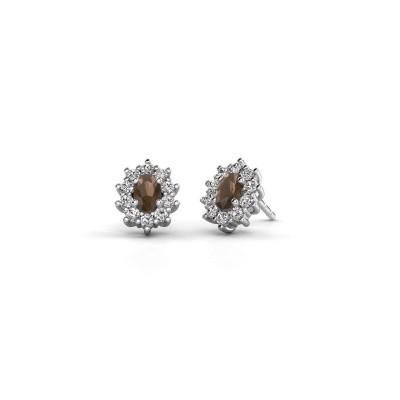 Picture of Earrings Leesa 950 platinum smokey quartz 6x4 mm