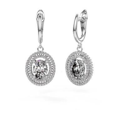Picture of Drop earrings Karren 950 platinum zirconia 8x6 mm