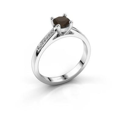 Engagement ring Nynke 950 platinum smokey quartz 4.7 mm