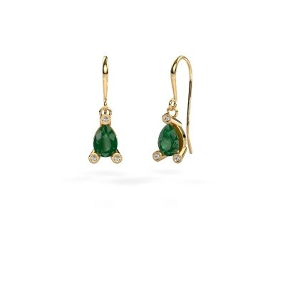 Picture of Drop earrings Bunny 1 585 gold emerald 7x5 mm