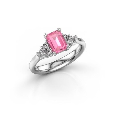 Foto van Verlovingsring Monika EME 585 witgoud roze saffier 7x5 mm