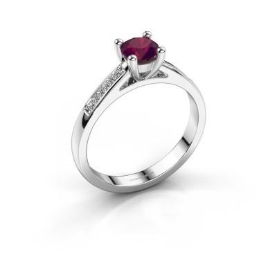 Engagement ring Nynke 585 white gold rhodolite 4.7 mm