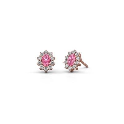 Earrings Leesa 375 rose gold pink sapphire 6x4 mm