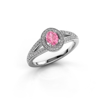 Verlovings ring Angelita OVL 925 zilver roze saffier 6x4 mm