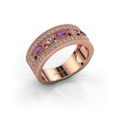 Ring Henna 375 rosé goud amethist 4x2 mm