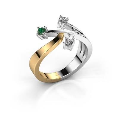Ring Lillian 585 goud smaragd 2.5 mm