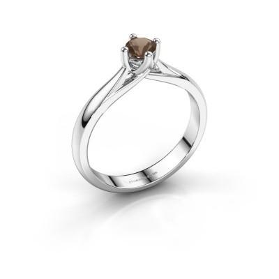 Engagement ring Janne 585 white gold smokey quartz 4.2 mm