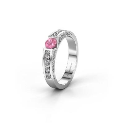 Trouwring WH2098L 585 witgoud roze saffier ±4x3 mm