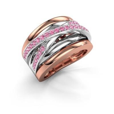 Foto van Ring Clair 3 585 rosé goud roze saffier 1.5 mm