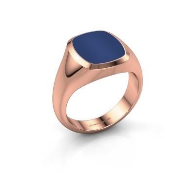 Foto van Zegelring Benjamin 2 375 rosé goud lapis lazuli 13x11 mm