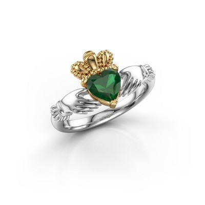 Foto van Ring Claddagh 2 585 witgoud smaragd 6 mm