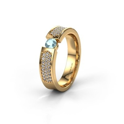 Trouwring WH2100L 375 goud aquamarijn ±5x3 mm