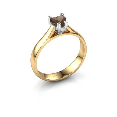 Engagement ring Sam Heart 585 gold smokey quartz 5 mm