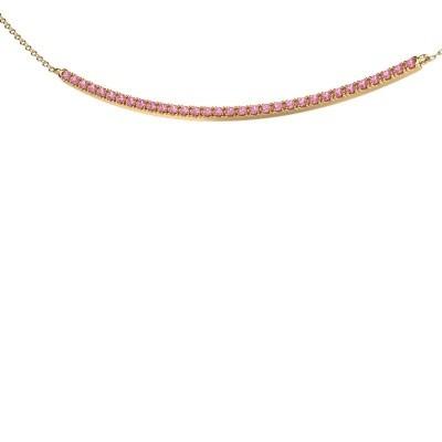 Bar ketting Simona 375 goud roze saffier 1.5 mm