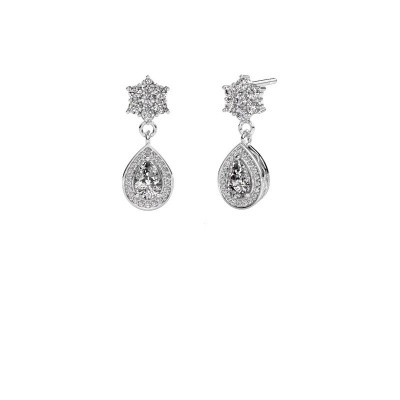 Drop earrings Era 950 platinum zirconia 6x4 mm