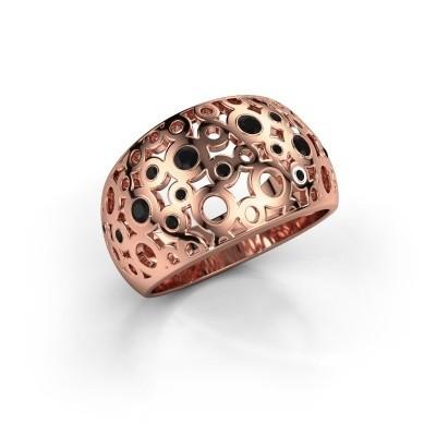 Ring Jaylinn 2 375 rosé goud zwarte diamant 0.324 crt