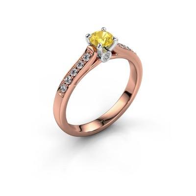 Foto van Verlovingsring Valorie 2 585 rosé goud gele saffier 4.7 mm