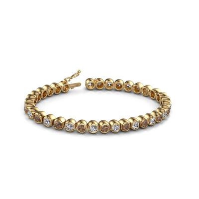 Foto van Tennisarmband Bianca 4 mm 375 goud bruine diamant 8.75 crt