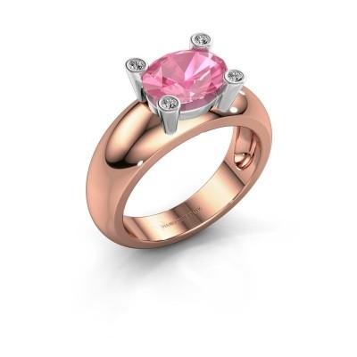 Ring Tamara OVL 585 rosé goud roze saffier 9x7 mm