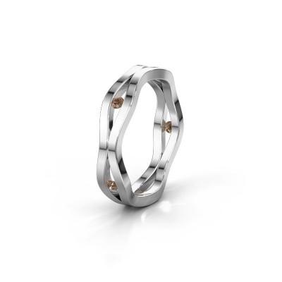 Trouwring WH2122L 925 zilver bruine diamant ±5x1.8 mm