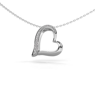 Halsketting Heart 1 585 witgoud zirkonia 1.2 mm