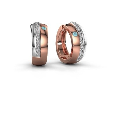 Picture of Hoop earrings Shakita 585 rose gold blue topaz 2 mm