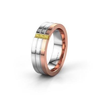 Wedding ring WH0428L16BP 585 rose gold yellow sapphire ±0.24x0.08 in