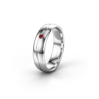 Wedding ring WH0905L35X 950 platinum ruby ±0.20x0.07 in
