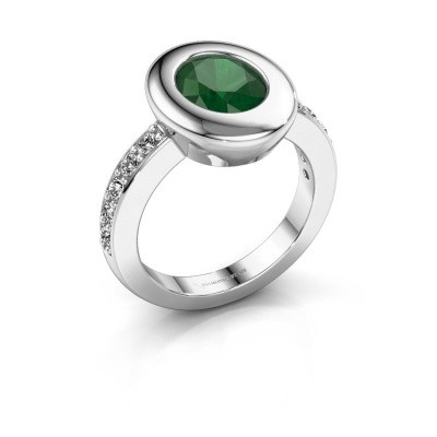 Ring Selene 2 585 white gold emerald 9x7 mm