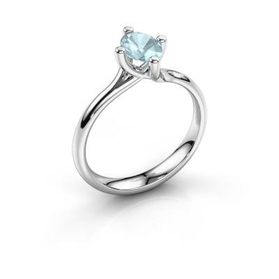 Engagement ring Dewi Oval 925 silver aquamarine 7x5 mm